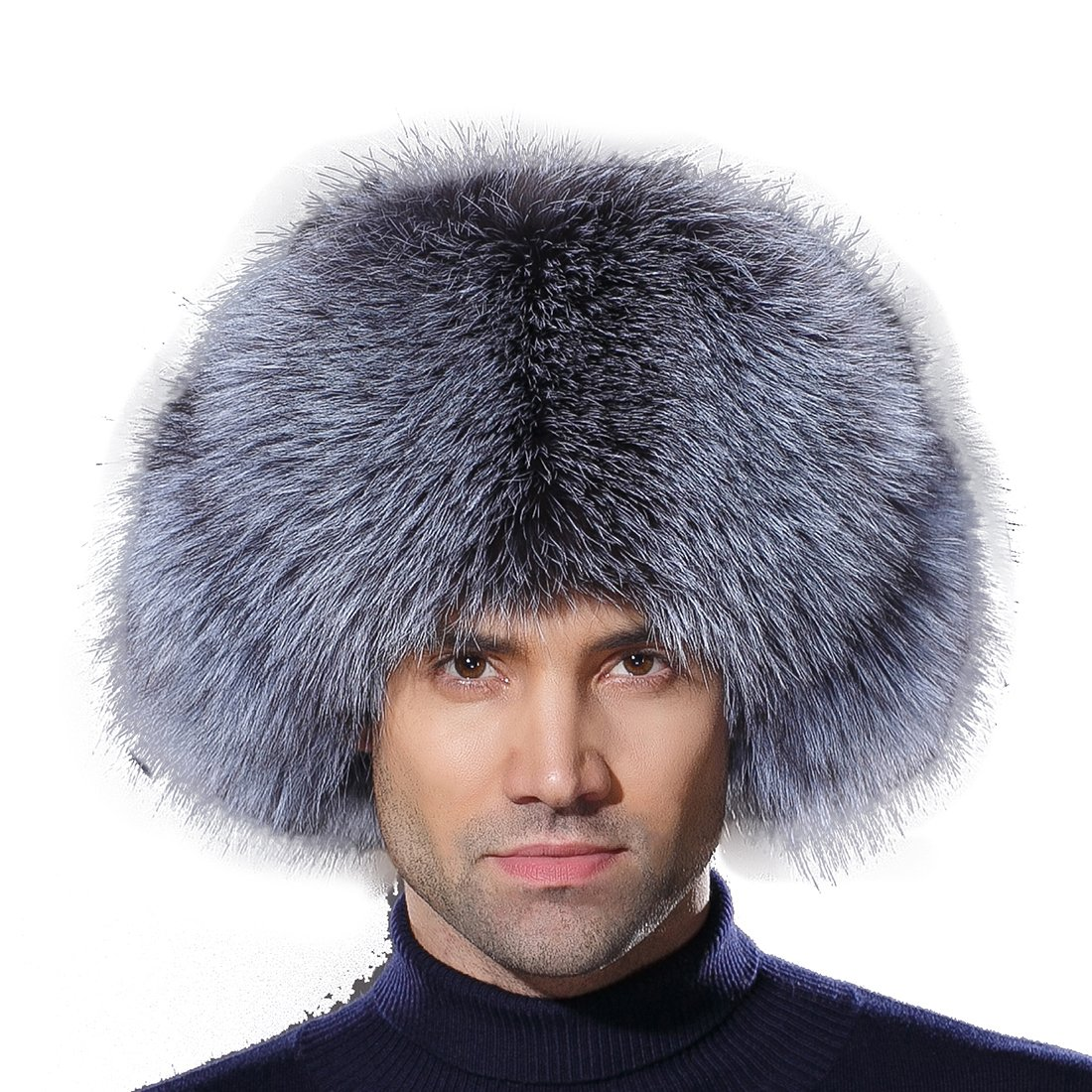 URSFUR Winter Mens Trapper Hat Real Leather Silver Fox Fur Russian Ushanka Cap by URSFUR
