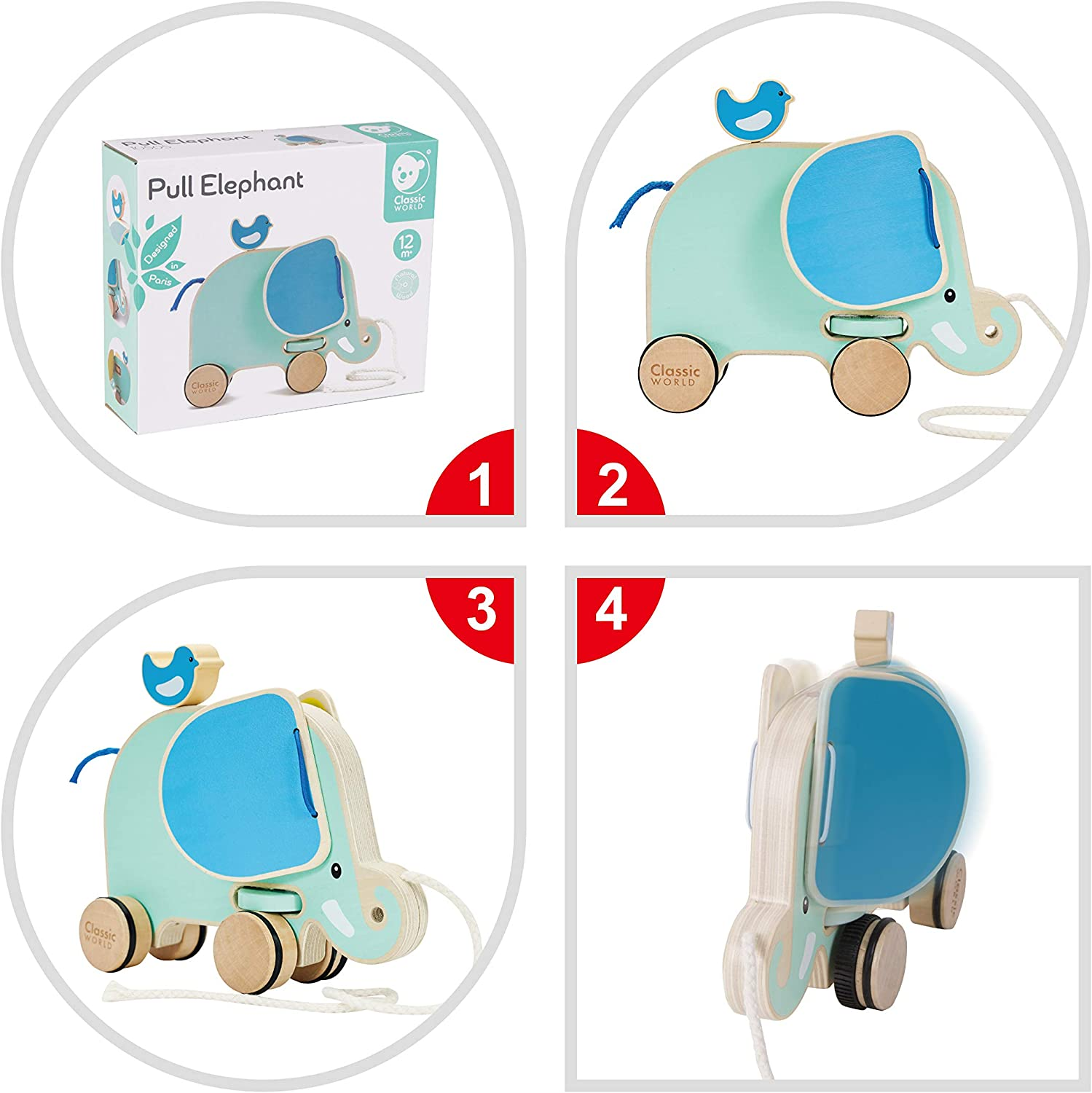 Classic World Pull Along Walking Toys,Wooden Pull Elephant Toy for Baby Toddler