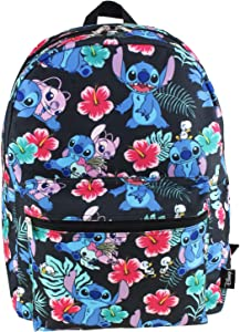 Lilo and Stitch 16 Inch Allover Print Laptop Backpack (Black)