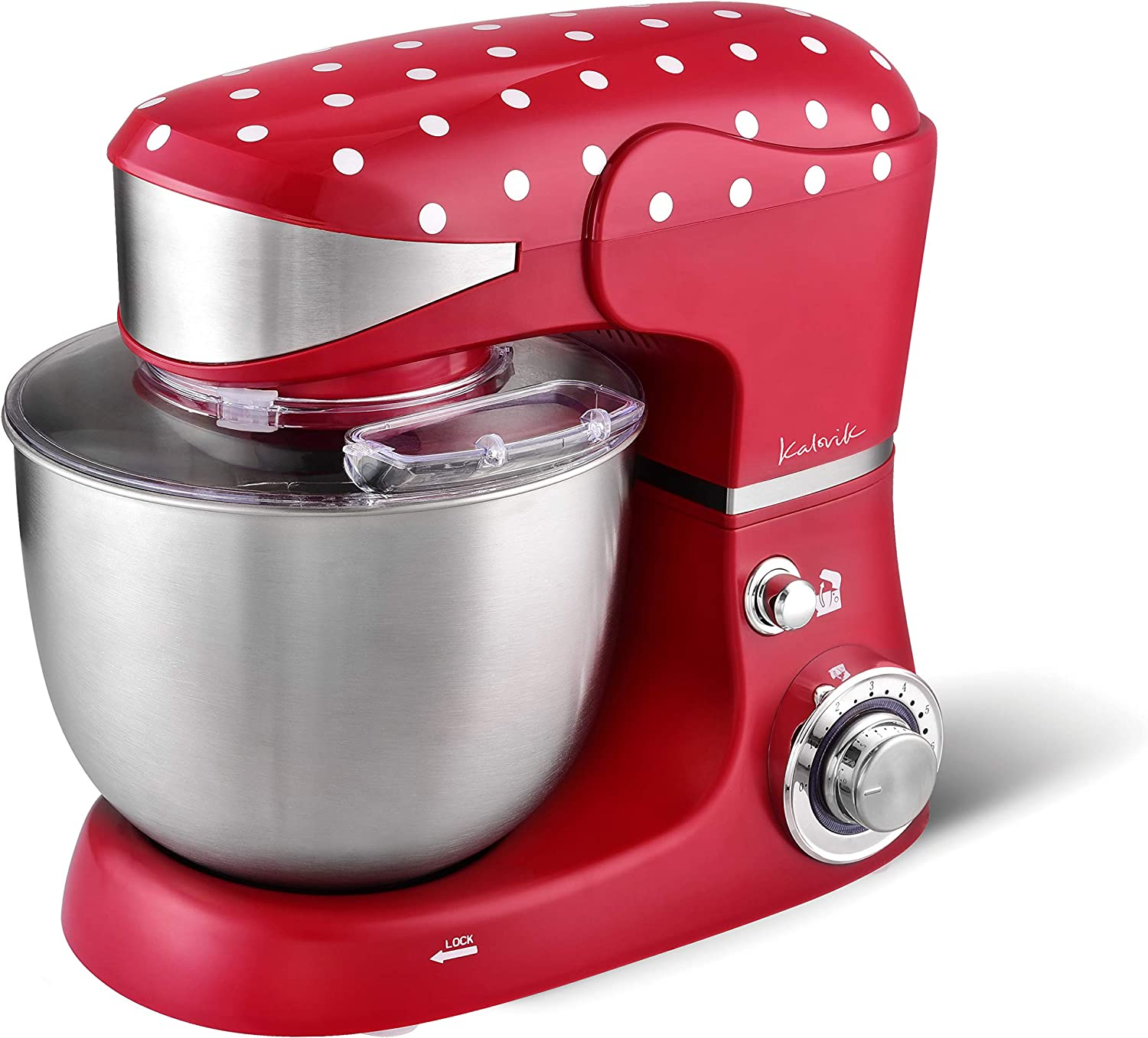 5 liters 1000 W Red /& White 6 Speeds Kalorik TKG M 3014 Vintage Style Polkadot Stand Mixer with 5L Bowl Whisk Stainless Steel Dough Hook and Flat Beater Attachments