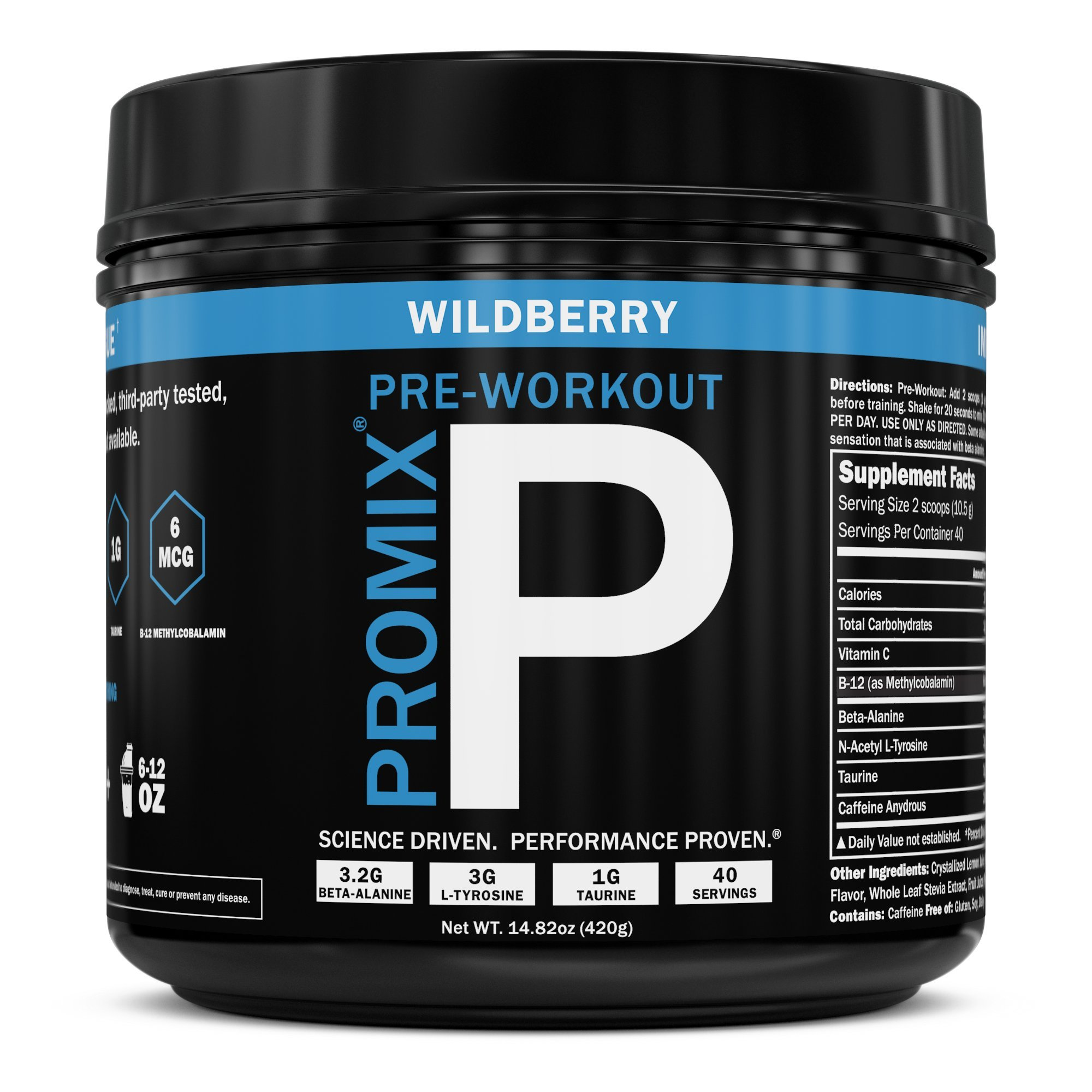 Pre Workout Powder Supplement Natural Energy Focus Keto PROMIX Performance I Men & Women Beta Alanine Taurine Tyrosine Vitamin B12 Weight Fat Loss Blast No Crash Tested Gluten Soy Free Wild Berry