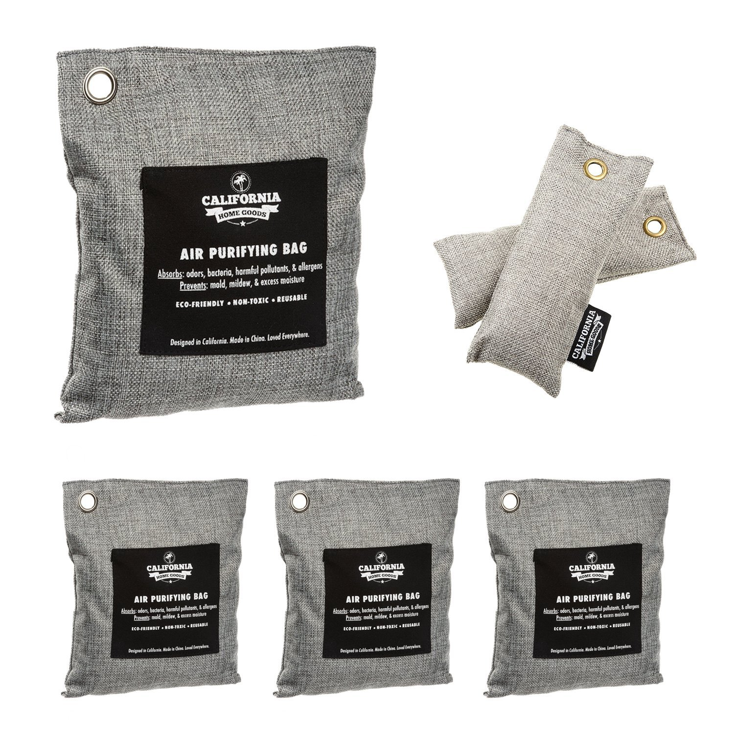 6 Pack - Activated Charcoal Deodorizer Odor Neutralizer Bags Complete Pack (1x 500g, 3X 200g & 2X 50g), Car Freshener Bags, 100% Natural Non-Toxic Carbon Activated Bamboo Charcoal Air Purifying Bag by California Home Goods