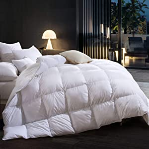 Three Geese Goose Down Comforter Queen Size,Duvet Insert All Seasons Down Comforter,100% Cotton Fabric Cover Filled 55oz High Fill Power,Hypoallergenic&Durable…