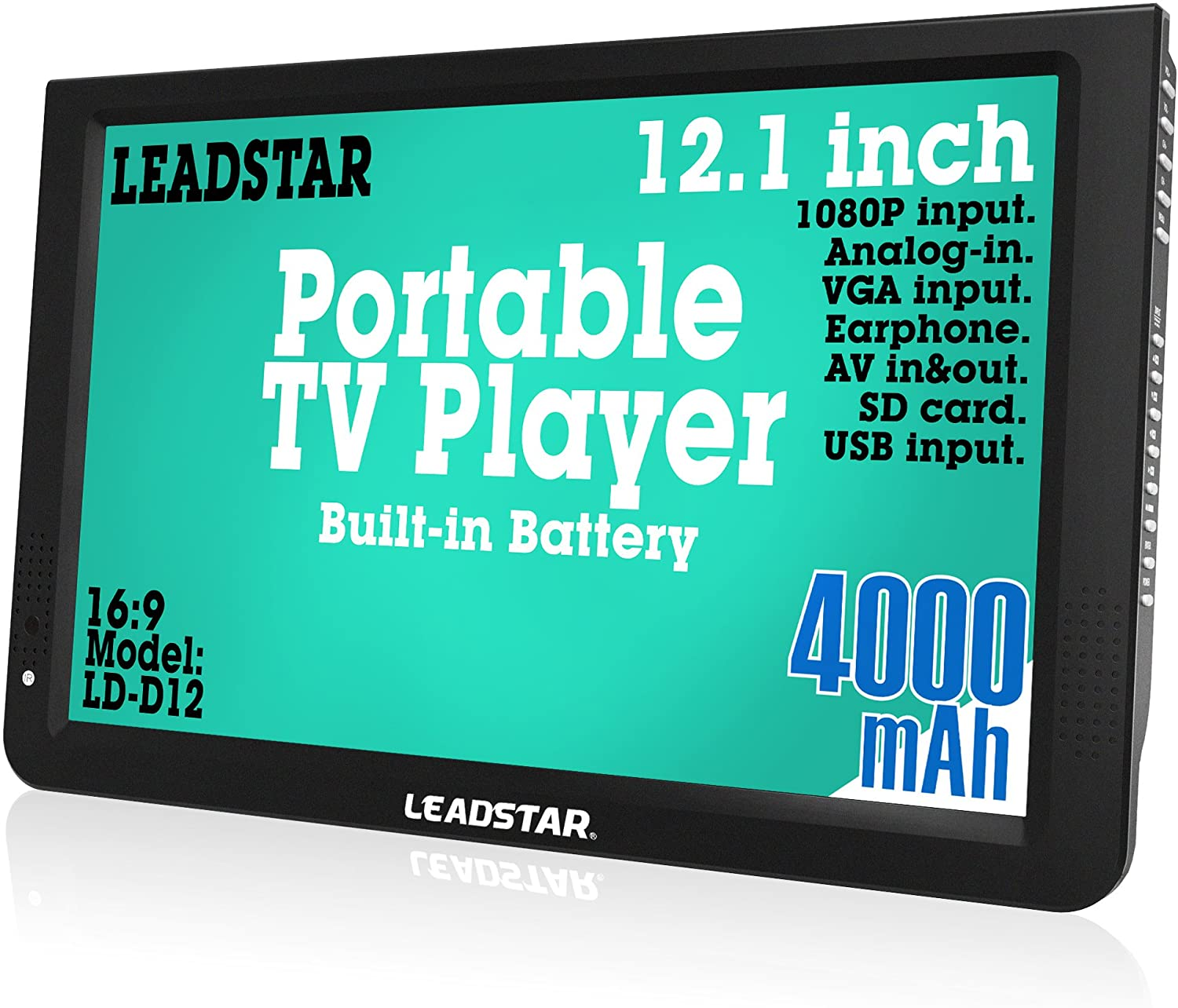Multimedia Player Support USB Card LEADSTAR 7 Inch Portable Small Digital ATSC TFT HD Screen Freeview LED TV for Car,Caravan,Camping,Outdoor or Kitchen.Built-in Battery Television//Monitor with FM