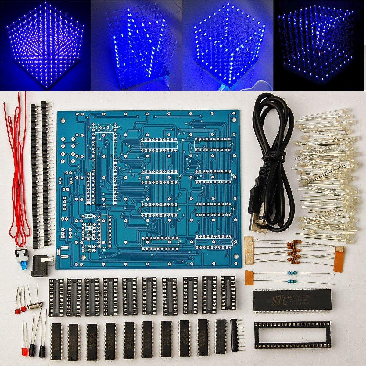 Arduino Diy Sansido 8x8x8 Led Cube 3d Light Square Electronic Circuit Diagram Of Rgb Soldering Sarter Kit Board Blue Computers Accessories