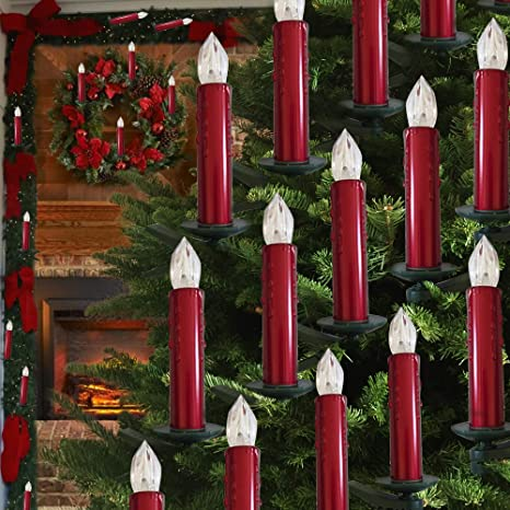 Christmas Candles.Hoolees Led Christmas Tree Candles Led Flameless Candle Lights Tuv Listed Wireless Led Candles Wireless Candle Christmas Tree Candles Shiny Red