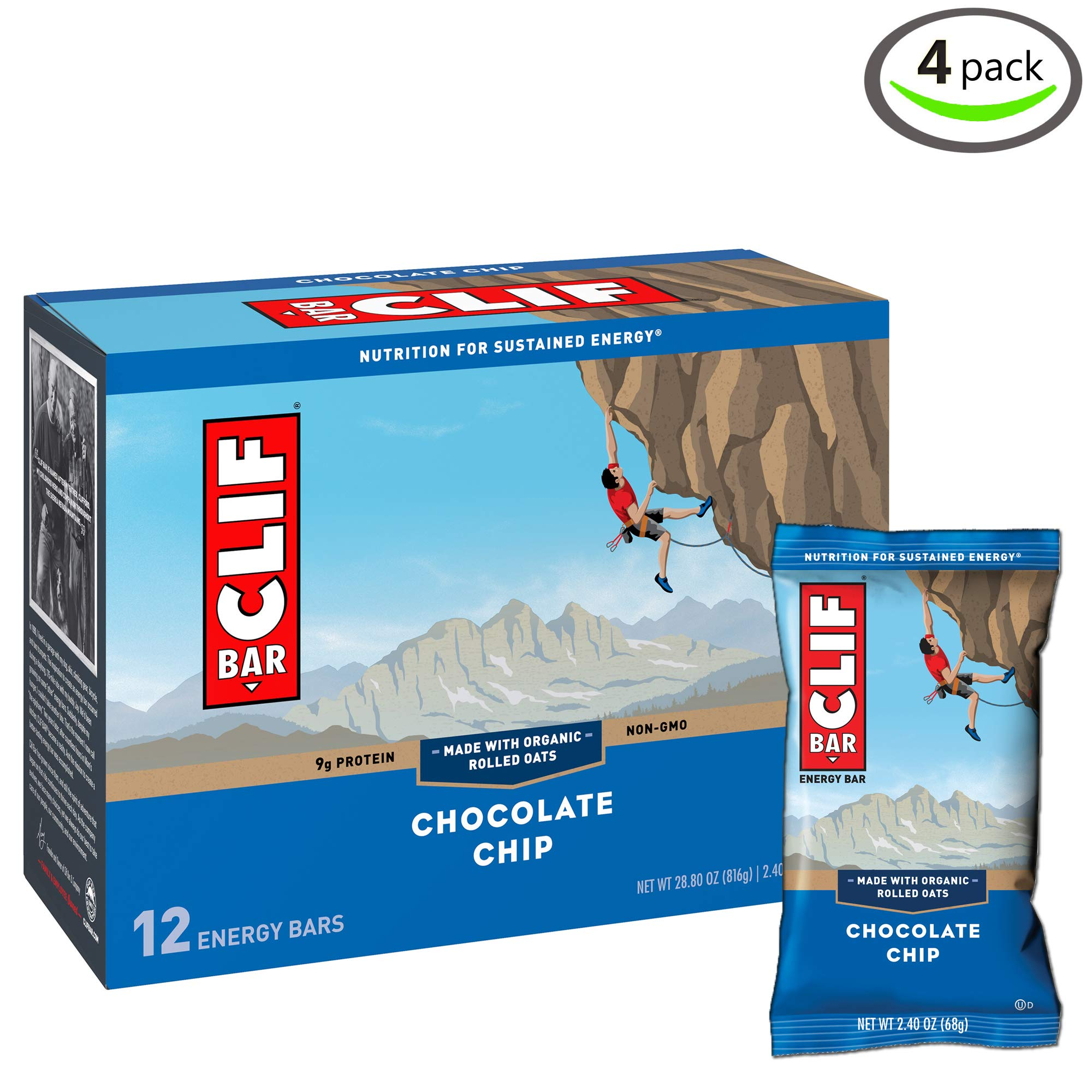 Clif Bar Energy Bar, Chocolate Chip, 2.4 Ounce, 12 Count - Pack of 4 by Clif Bar