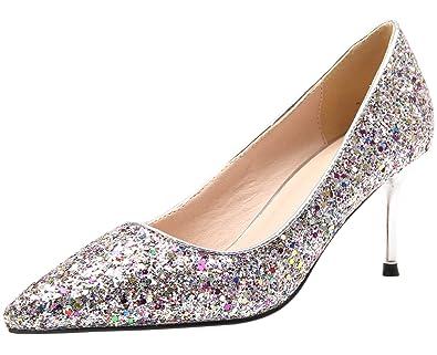 BIGTREE Damen High Heels von Spitze Zehen Schwarz Glänzend Pailletten Stiletto Kleid Pumps 39 EU ncAwCD