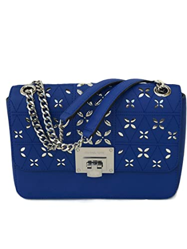 3a92fab84f1e Michael Kors Tina Flora leather Crossbody Shoulder Bag (Electric Blue)