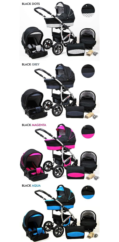 Kinderwagen Largo,3 in 1 Set Wanne Buggy Babyschale Autositz mit Zubeh/ör Black Moro