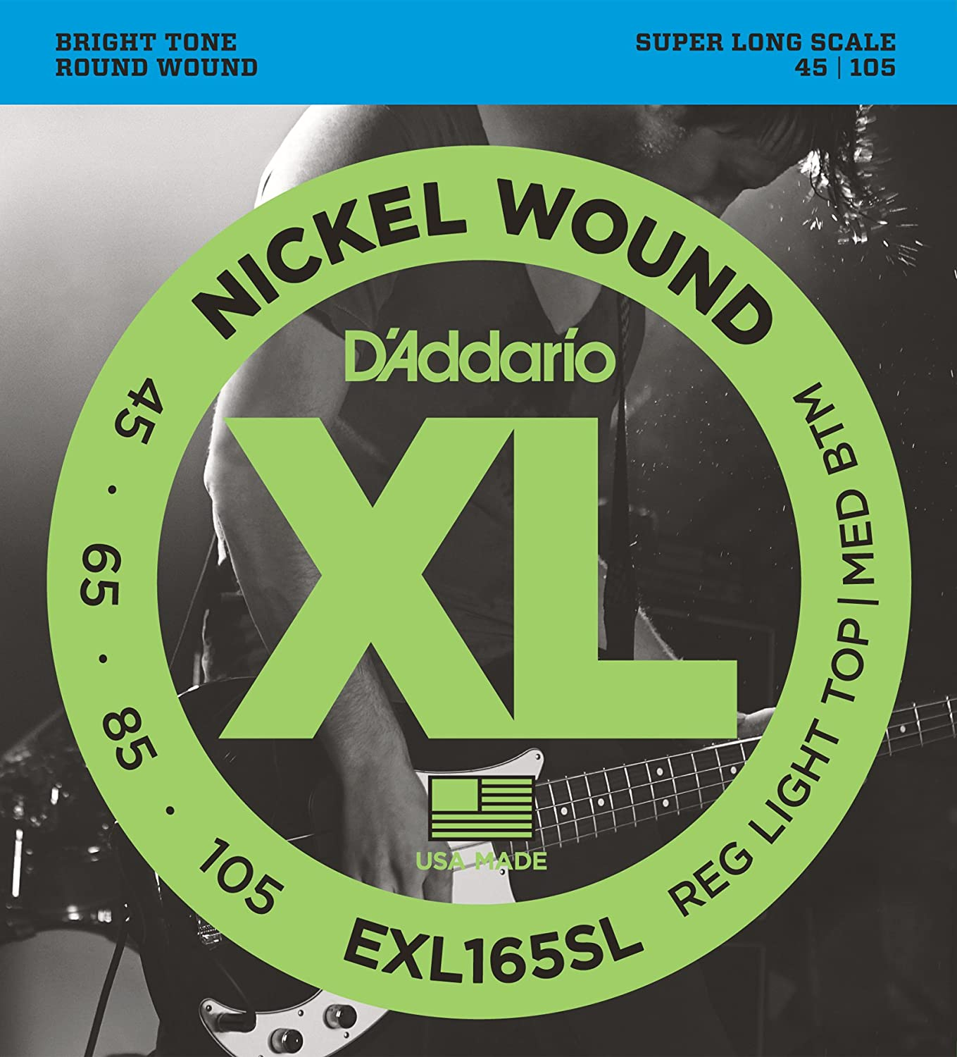 D'Addario EXL160-5 5-String Nickel Wound Bass Guitar Strings, Medium, 50-135, Long Scale D'Addario