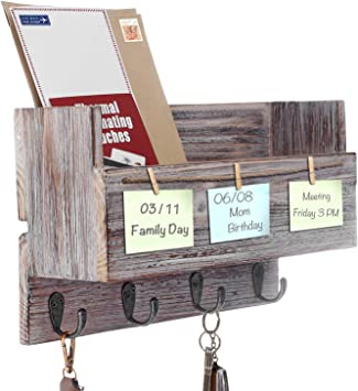 Wall Mount Mail Rack Organizer Letter Basket with 2 Key Hooks and Label Clip for Office School Home Entryway