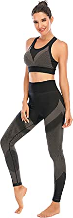 Cordaw Women Workout Set Outfits 2 Piece Seamless Sports Bra and Legging