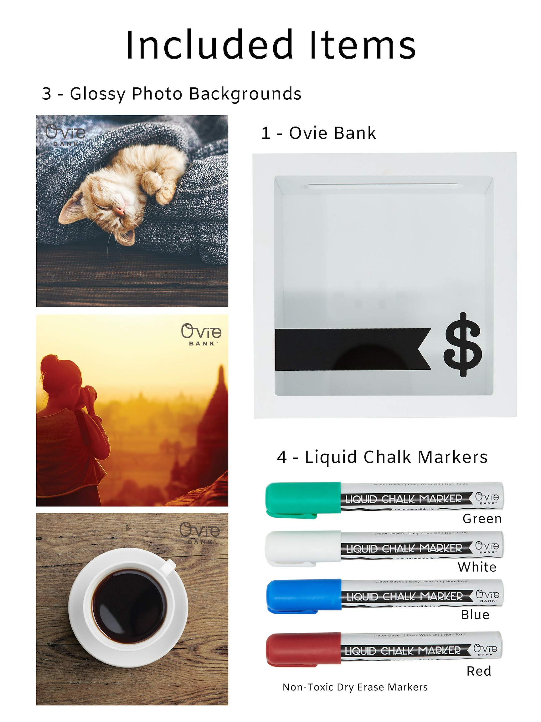 OVIE Adult Piggy Bank $ - Shadow Box with Wood Frame - Keep in Kitchen to Track Vacation/Honeymoon/Wedding/Adventure Funds - 6X6 Frames - Clear Glass/Picture Background/Colored Markers by OVIE (Image #3)