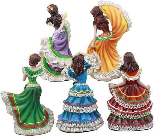 Ebros Set of 5 Day of The Dead Colorful Gowns Traditional Dancer Statues Sugar Skull Vivas Calacas Dia De Los Muertos Costume Parade Dancers Figurine Set