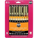 Sakura Pigma 30067 Micron Blister Card Ink Pen Set, Black, 8/Set
