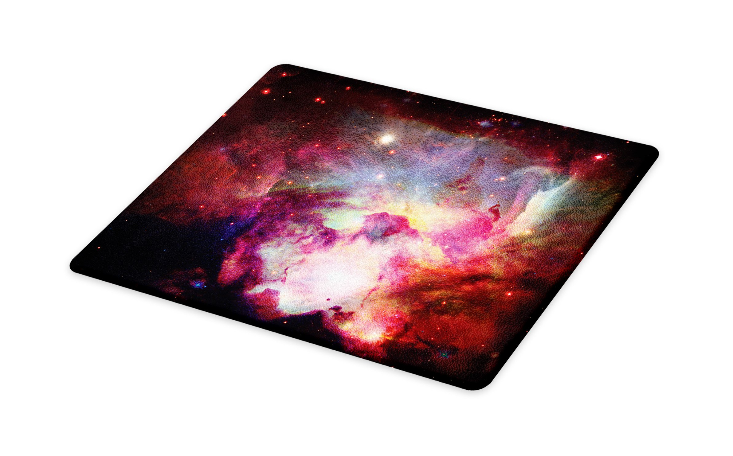 Lunarable Outer Space Cutting Board, Image of Magical Gas Cloud Nebula in Outer Space with Galaxy Solar Zone Print, Decorative Tempered Glass Cutting and Serving Board, Small Size, Purple Red