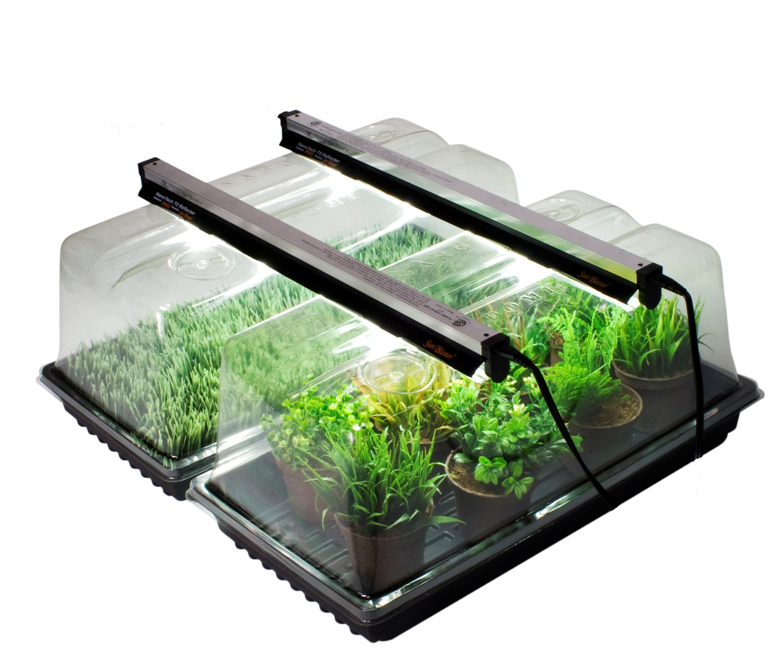 2 Pack of Mini Greenhouses for Germination and Propagation includes 2x 18'' T5 HO Fluorescents, 2x Nano Reflector, 2x Nano Dome, 2x Quadruple thick Plant Trays by SunBlaster