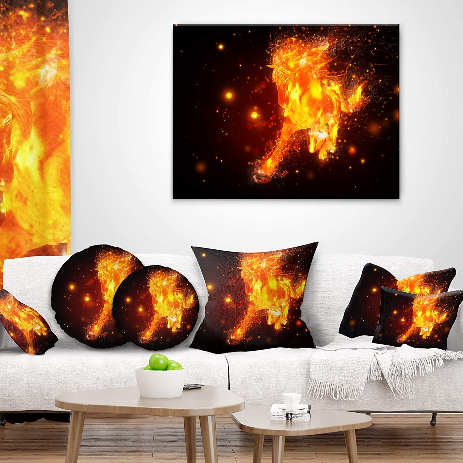 x 26 in Sofa Throw Pillow 26 in in Insert Printed On Both Side Designart CU13455-26-26 Abstract Running Fire Horse Animal Cushion Cover for Living Room