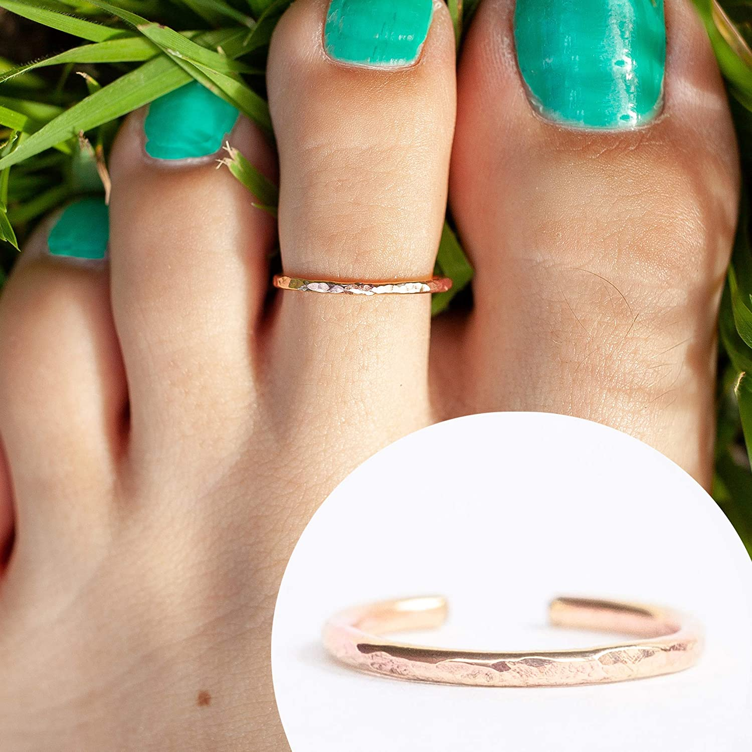 14k Rose Gold Filled Hawaiian Adjustable Open Band Toe Ring One Size Fits All 81wZZOUsh5L