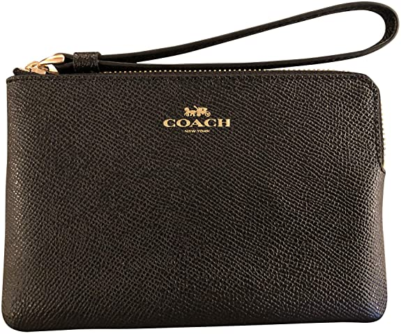 Coach Crossgrain Leather Corner Zip Wristlet, Black best women's wristlets