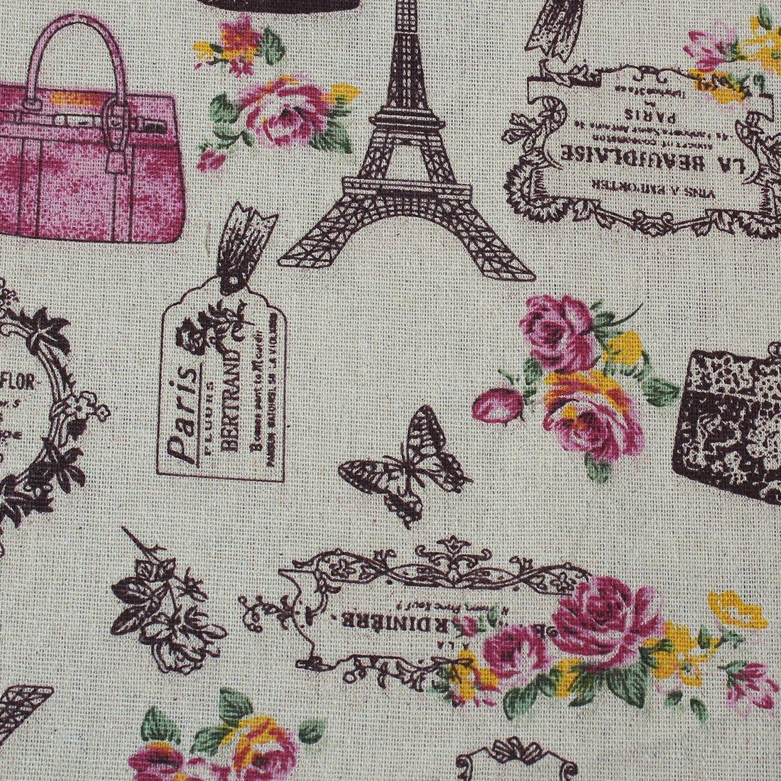 1 M Coupon de Tissu Patchwork en Lin Bricolage Lettres Anglaises Loisir Créatif Paris Tour Eiffel Écologique Couture DIY Scrapbooking Quilting Textile d'Artisanat Cysincos