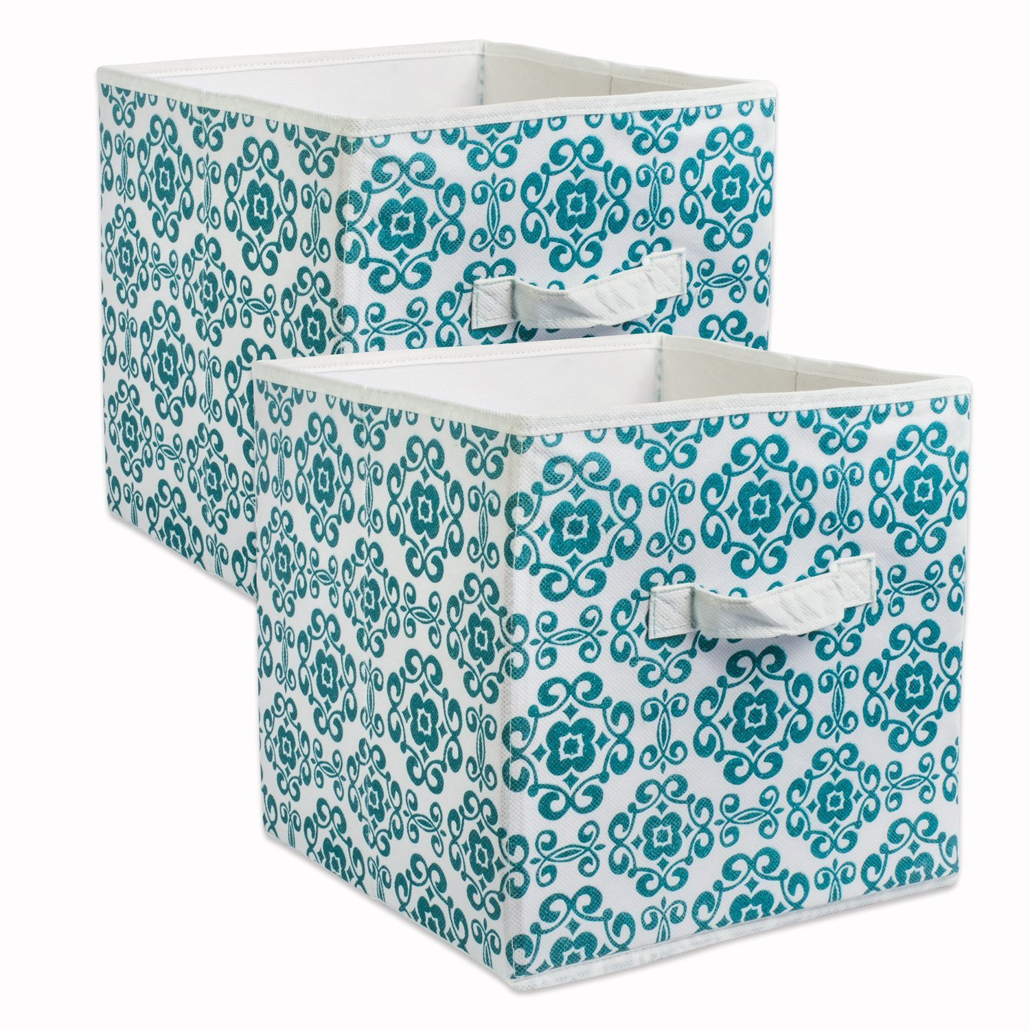 DII Fabric Storage Bins for Nursery, Offices, & Home Organization, Containers Are Made To Fit Standard Cube Organizers (13x13x13'') Scroll Teal - Set of 2