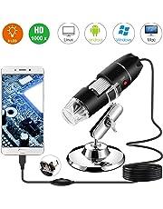 Microscope numérique USB, Endoscope de grossissement 40X-1000X Portable Bysameyee, Microscope Digital 8 LED pour Windows 7/8/10 Mac Linux sous Android (avec OTG)