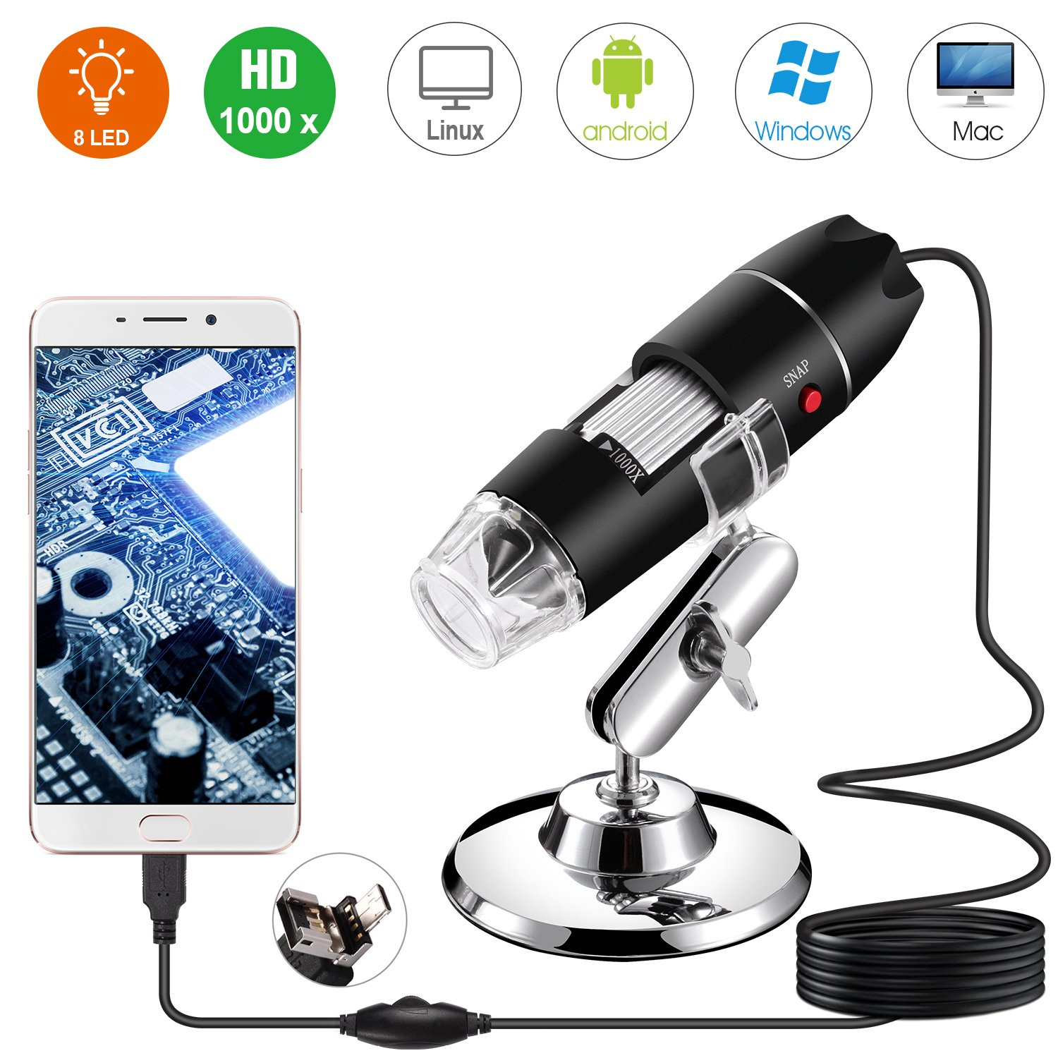 USB Digital Microscope, Bysameyee Handheld 40X-1000X Magnification Endoscope, 8 LED Mini Video Camera for Windows 7/8/10 Mac Linux Android (with OTG)