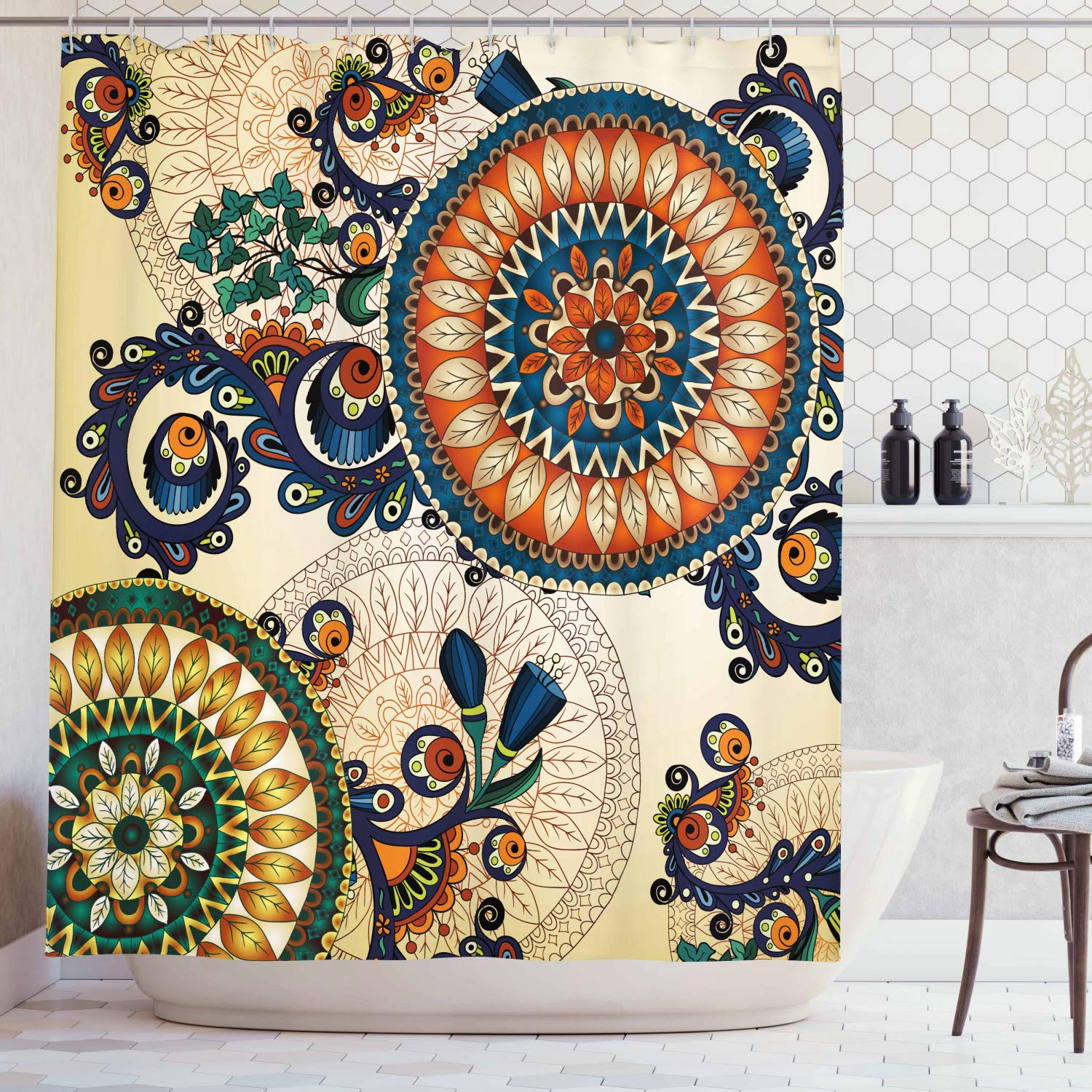 Ethnic Decor Shower Curtain by Ambesonne, Floral Arabesque Boho Pattern with Floral and Peacock Feather Figures Folk Image , Fabric Bathroom Decor Set with Hooks, 75 Inches Long, Multi