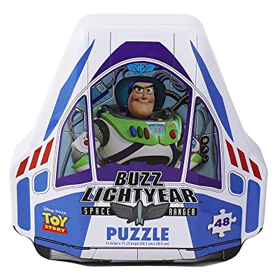 Disney Pixar Toy Story 4 Shaped Buzz Lightyear Tin with 48Piece Surprise Puzzle: Toys & Games