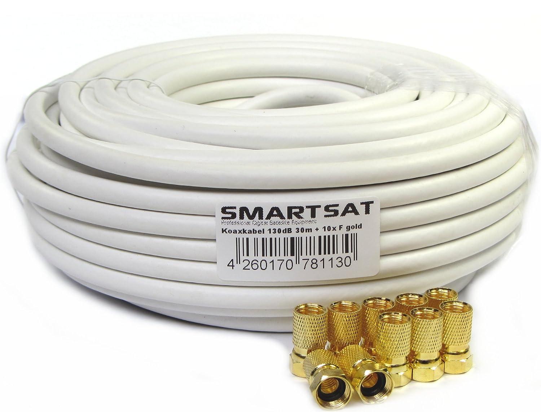 Smartsat 10m Koaxialkabel X130B 7, 4mm inkl. 10x F-Stecker vergoldet ...