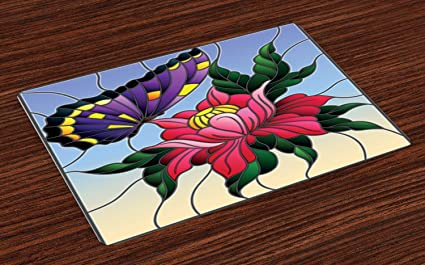 Amazoncom Ambesonne Aster Place Mats Set Of 4 Stained Glass