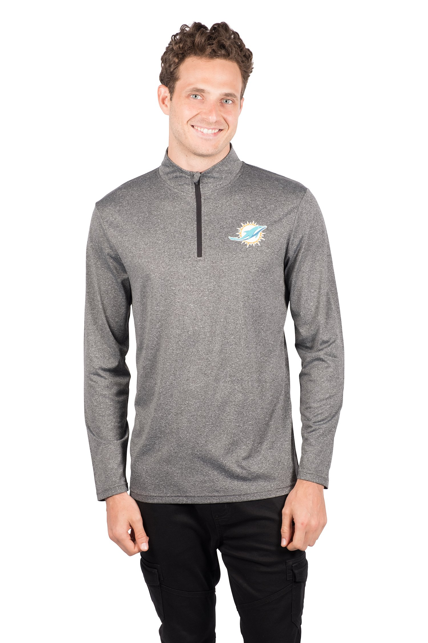 Ultra Game Men's NFL Quarter Zip Athletic Quick Dry Pullover Tee Shirt, Miami Dolphins, Charcoal Heather, Small