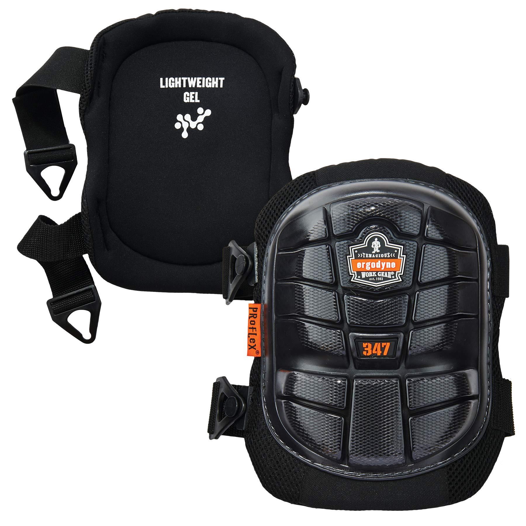 Ergodyne ProFlex 347 Professional Knee Pads,  Protective Long Cap, Lighweight Gel Padded Technology, Adjustable Straps, Black