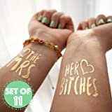 The Mrs. and Her Bitches Bachelorette Temporary Gold Metallic Tattoos Flash Tats, Set of 11