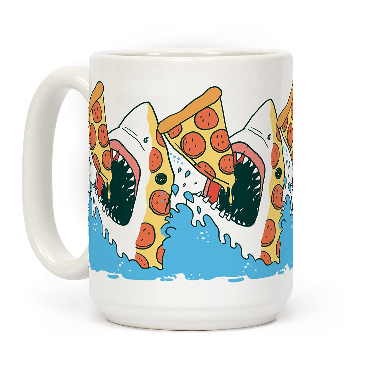 LookHUMAN Pizza Shark White 15 Ounce Ceramic Coffee Mug