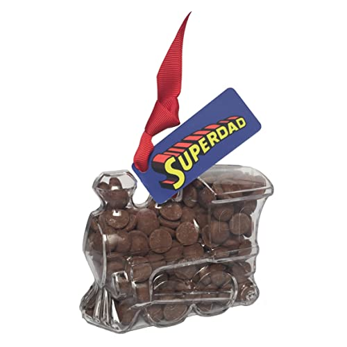 "Train - ""Super Dad!"" Father's Day Chocolate Dad Gift. From the Belgian Milk Chocolate 'ButtonChocs' Gift range."