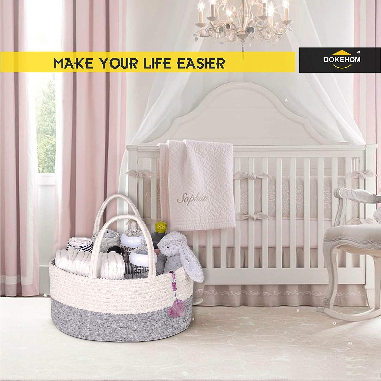 DOKEHOM Large Baby Pannolino Caddy Organizer con Manico in Pelle Cestino Multifunzionale portaoggetti Nursery bin Cesto con Scomparti Rimovibili Bianco