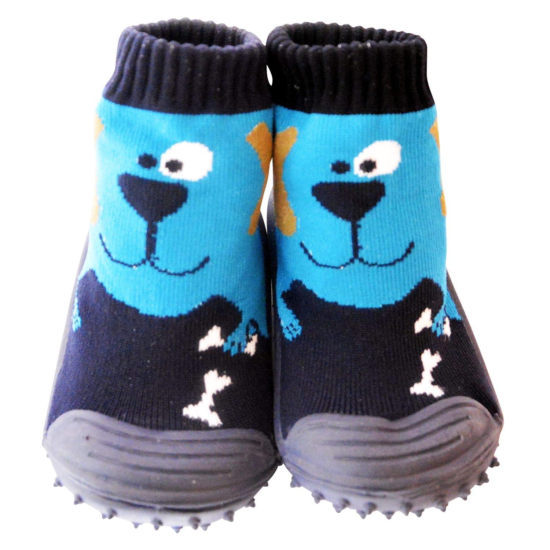 C2BB - Chaussons-chaussettes bébé antidérapants semelle souple garçon | Chien bleu - Pointure: 19 651_1471