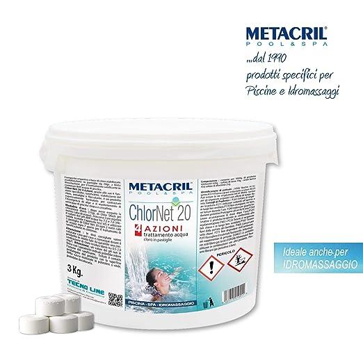 Metacril Cloro Piscina Multiacción en Pastillas de 20 g. - CHLOR Net 20 4 acciones 3 kg. - Sanificante, antialgas, floculante de acción Lenta - para ...