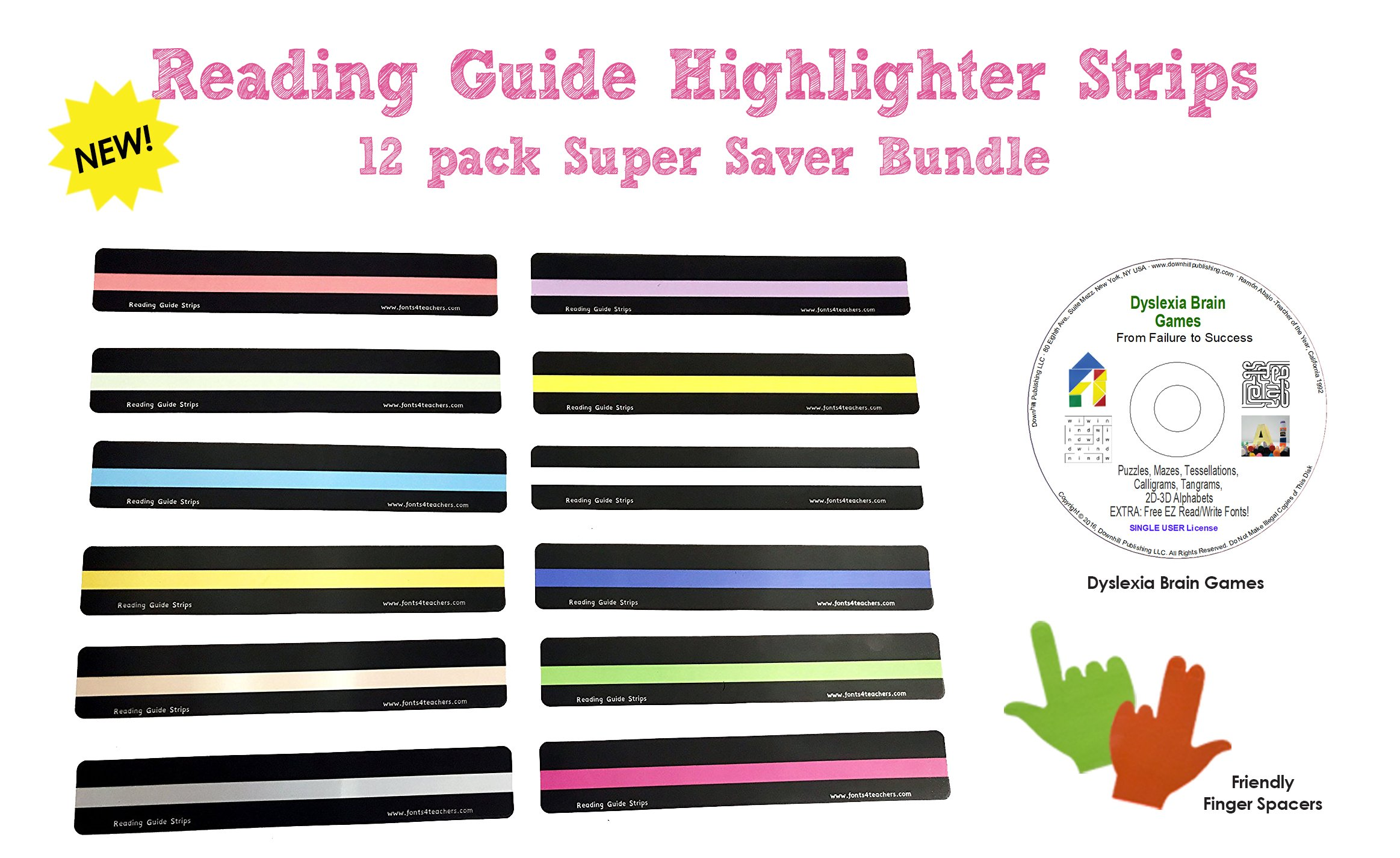 Reading Guide Highlighter Strips (12 PACK) + Dyslexia Brain Games CD + Finger Spacers BUNDLE   Colored and Guided Reading Strips with Overlays   12 COLORS by Reading Guide Strips by Fonts4Teachers