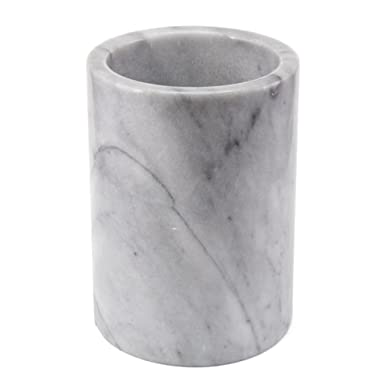 Creative Home 74046 Natural Marble Tool Crock Utensil Holder, 5  Diam. x 7  H, Off- Off-White (patterns may very)