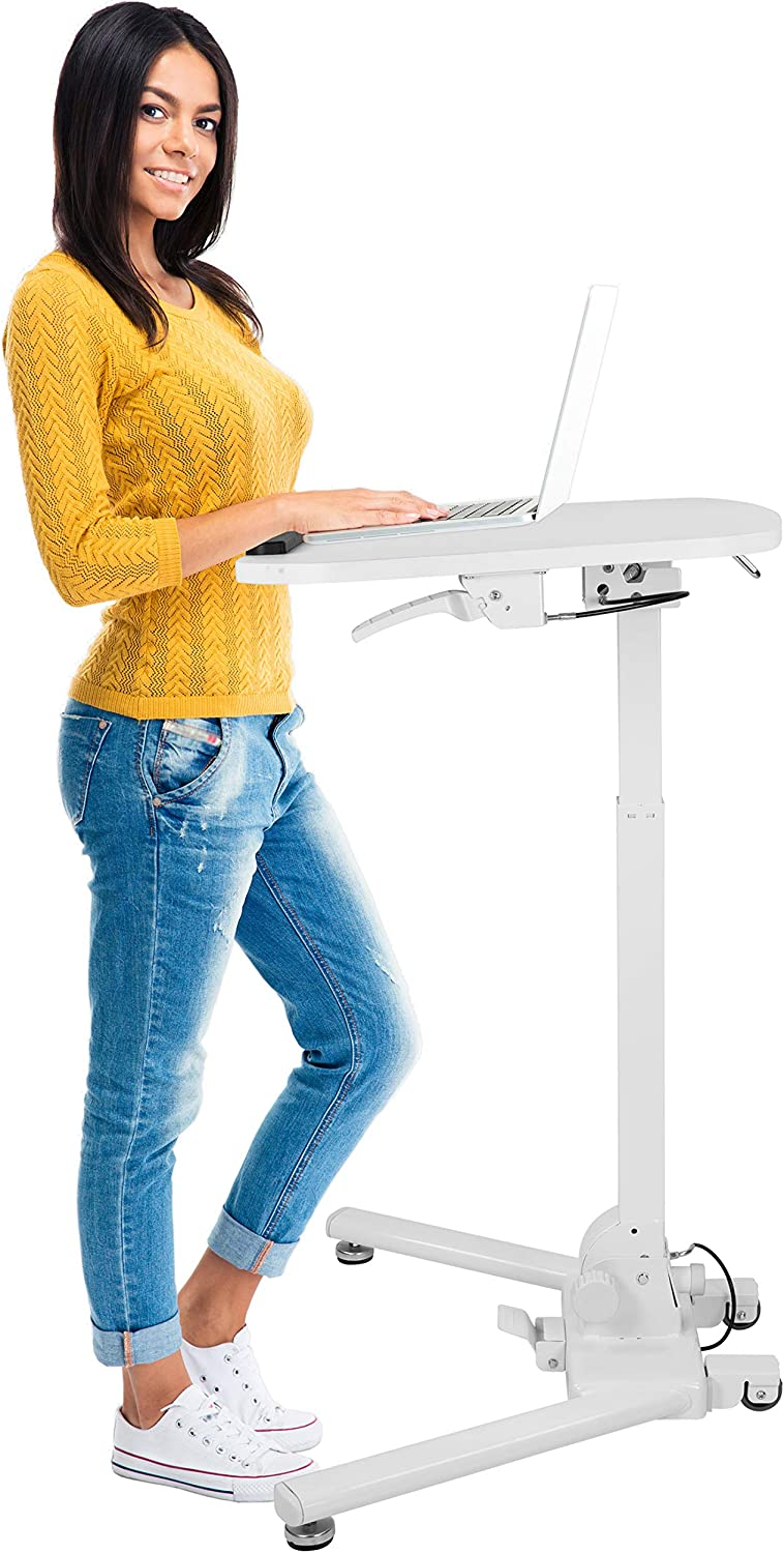 "Mount-It! Standing Folding Laptop Cart, Sit Stand Mobile Desk with Height Adjustable 31.1"" x 20.5"" Platform, Supports up to 17.6 lbs, White (MI-7949)"