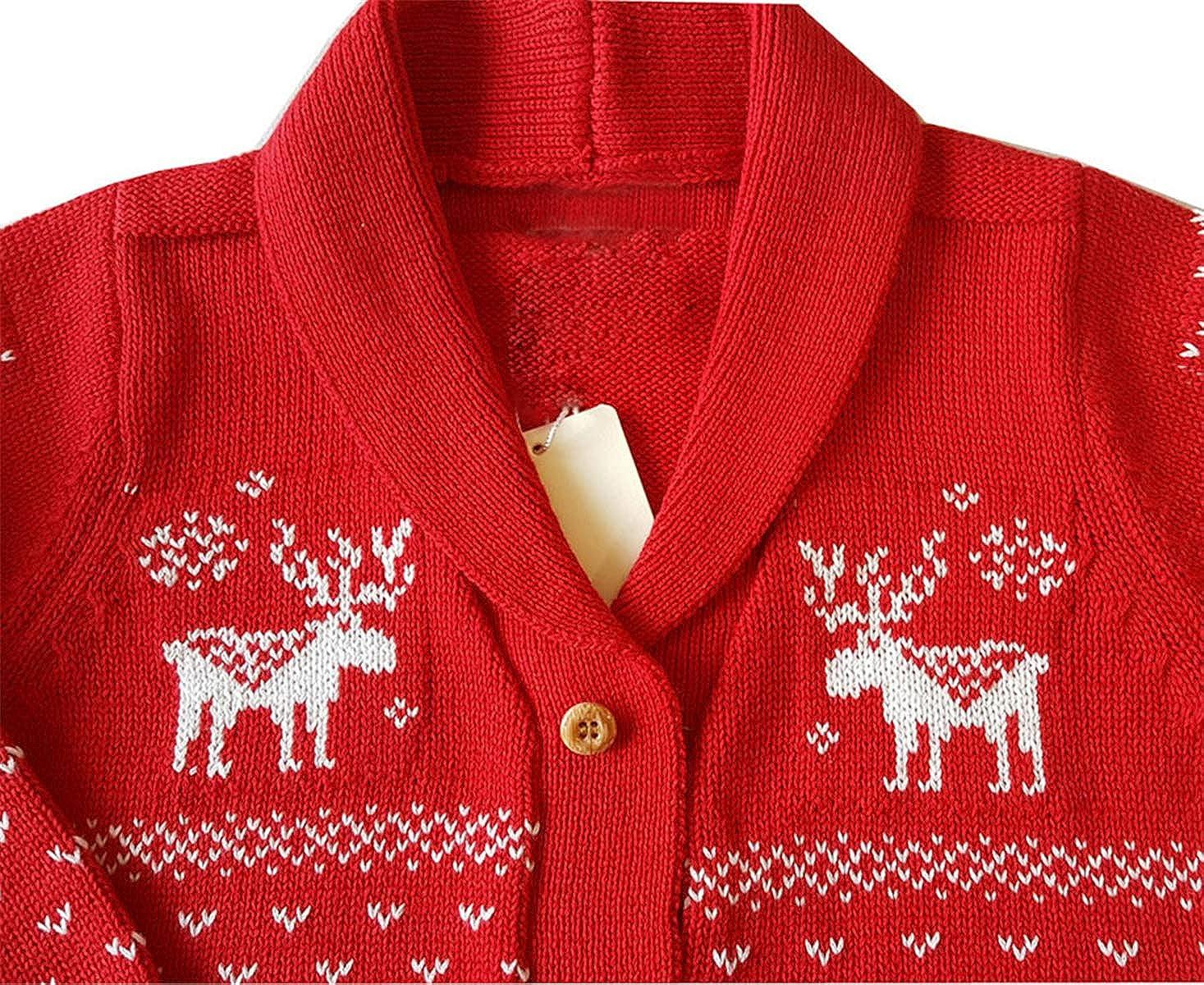 Betusline Kids Button Down Christmas Cardigan Sweater