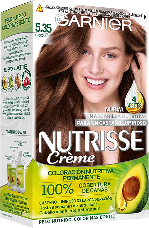 Garnier Nutrisse Creme Coloración Permanente con Mascarilla, Chocolate 5.35