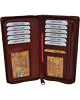 LeatherBoss All Around Zipper Checkbook Holder With Pull Out Checkbook