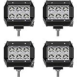AUSI LED Light Bar 4PCS 4 INCH 18W Dual Row Led Light Bar Spot Light Driving Fog Light IP67 Waterproof Off Road Work Light fo