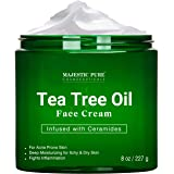 Tea Tree Oil Face Cream by Majestic Pure - Therapeutic Grade, Infused with Ceramides, for Acne Prone Skin Care - Fights…