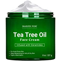 Tea Tree Oil Face Cream by Majestic Pure - Therapeutic Grade, Infused with Ceramides...